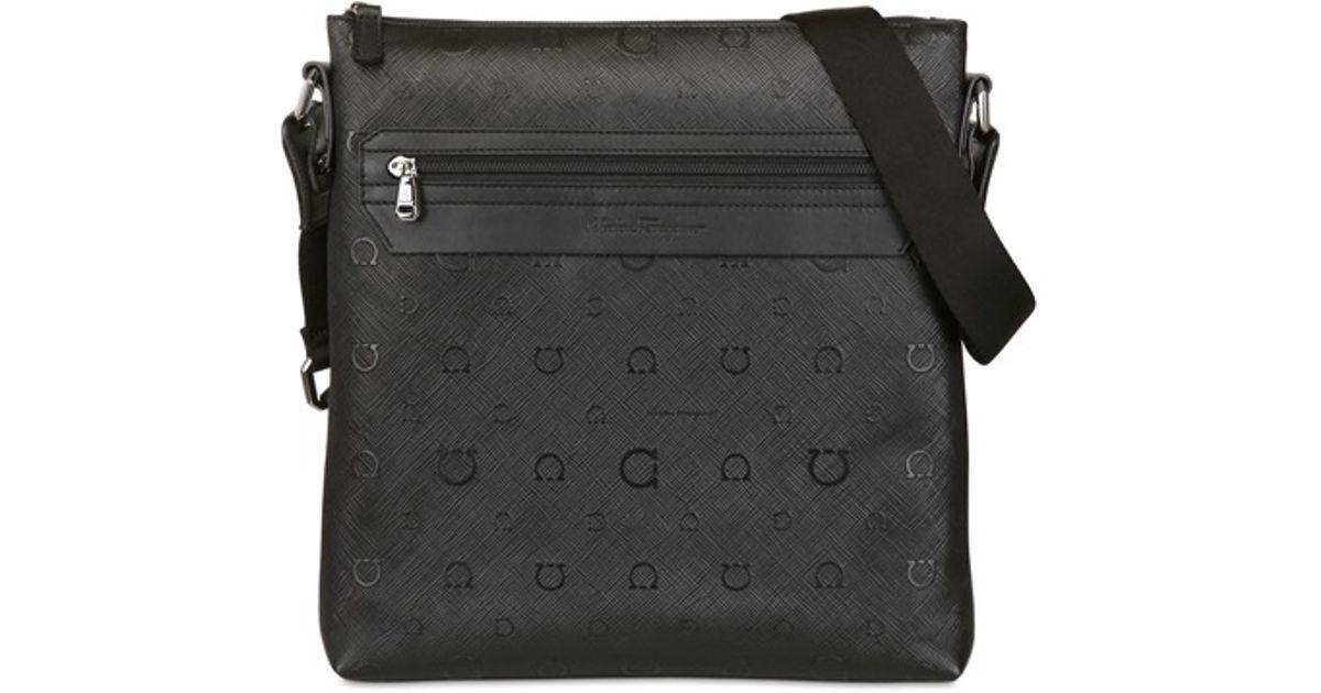 Lyst - Ferragamo Apollo Logo Leather Flat Bag in Black for Men 4e933cbfeadef