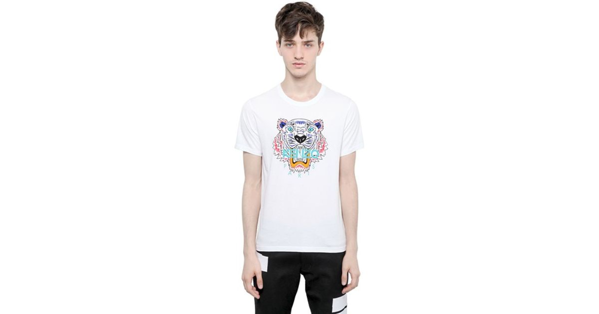 03b2eb849aa Lyst - KENZO Tiger Printed Cotton Jersey Tshirt in White for Men