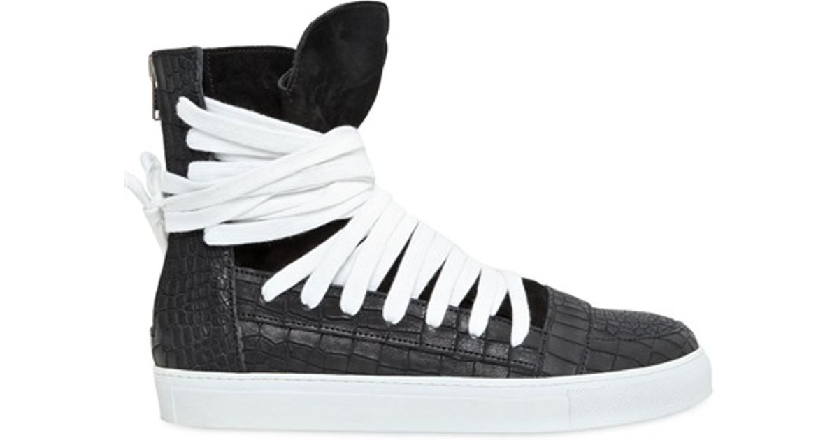086e9cf6558530 Kris Van Assche Crocembossed Leather High Top Sneakers in Black for Men -  Lyst