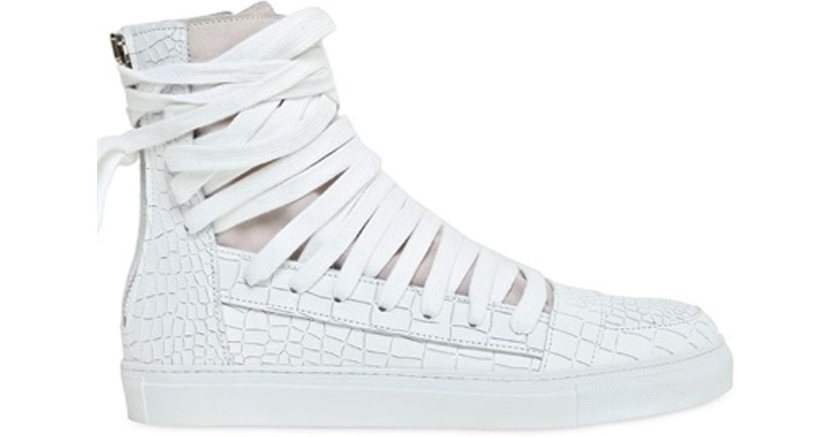 7f6fbcb75f Kris Van Assche Crocembossed Leather High Top Sneakers in White for Men -  Lyst