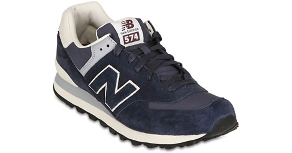 b0b61624e7c Lyst - New Balance 574 Luxury Suede and Ripstop Sneakers in Blue for Men