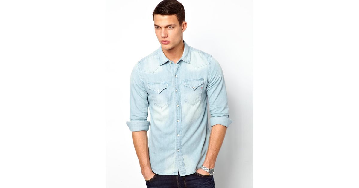Lyst replay denim shirt light wash western in blue for men for Replay blue jeans t shirt