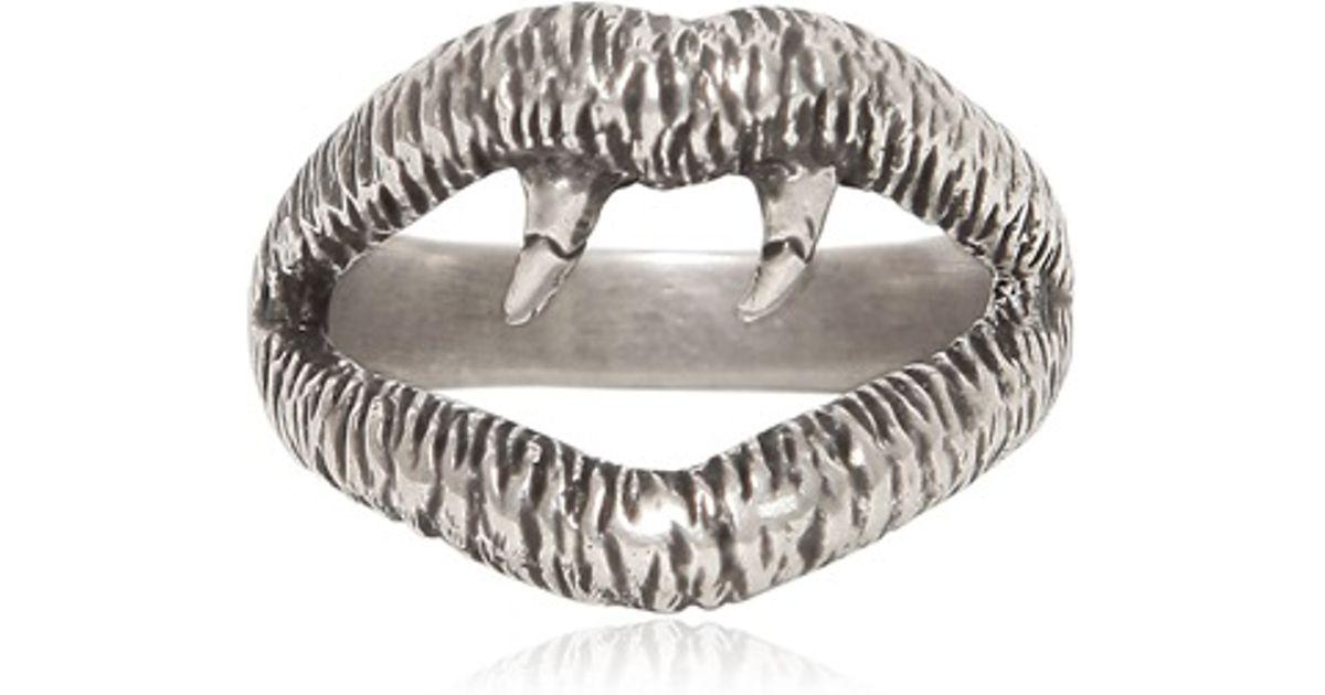 4c402877eede Lyst - Saint Laurent Silver Vampire Ring in Metallic for Men