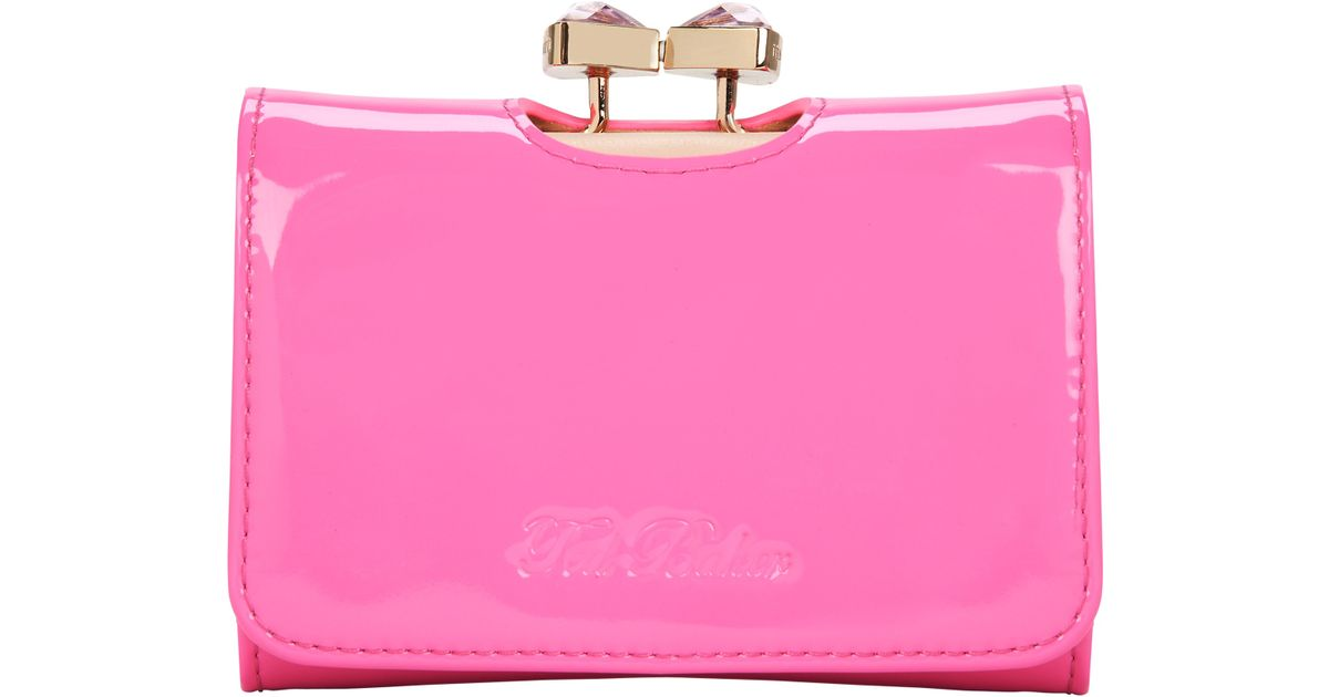 71fb98382a6a Ted Baker Tyro Crystal Bow Bobble Patent Small Purse in Pink - Lyst