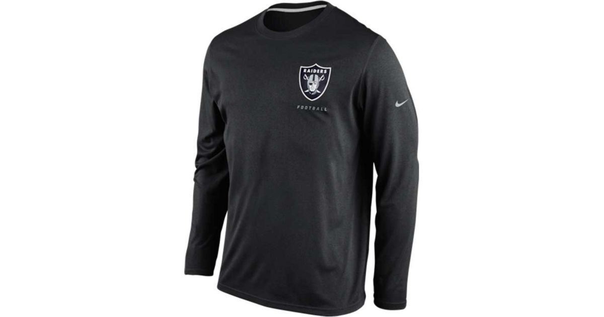 Lyst - Nike Mens Longsleeve Oakland Raiders Drifit Tshirt in Black for Men f1101e107