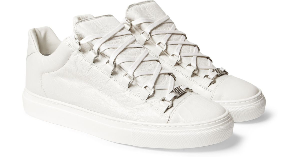 bf4f38f5e89f Lyst - Balenciaga Arena Creased Leather Low Top Sneakers in White for Men