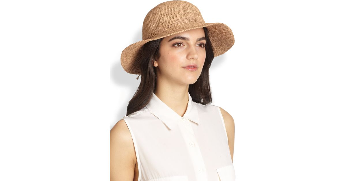Lyst - Helen Kaminski Caicos Raffia Crochet Hat in Brown 7002f3c07074