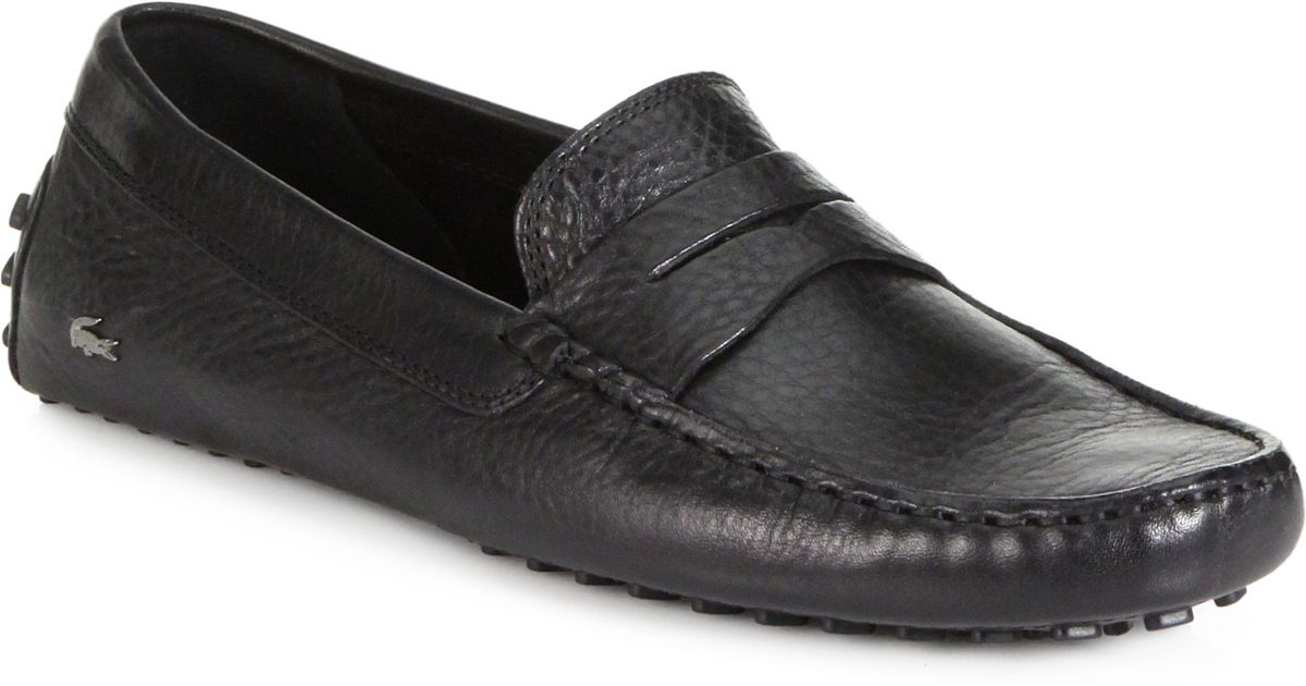 4b41f9421cc0b4 Lyst - Lacoste Concours Leather Drivers in Black for Men