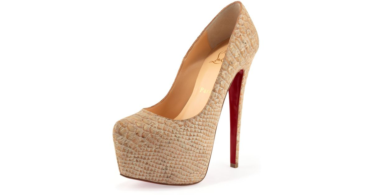 372f76aff65a Lyst - Christian Louboutin Daffodile Snakeprint Cork Platform Pump Beige in  Natural