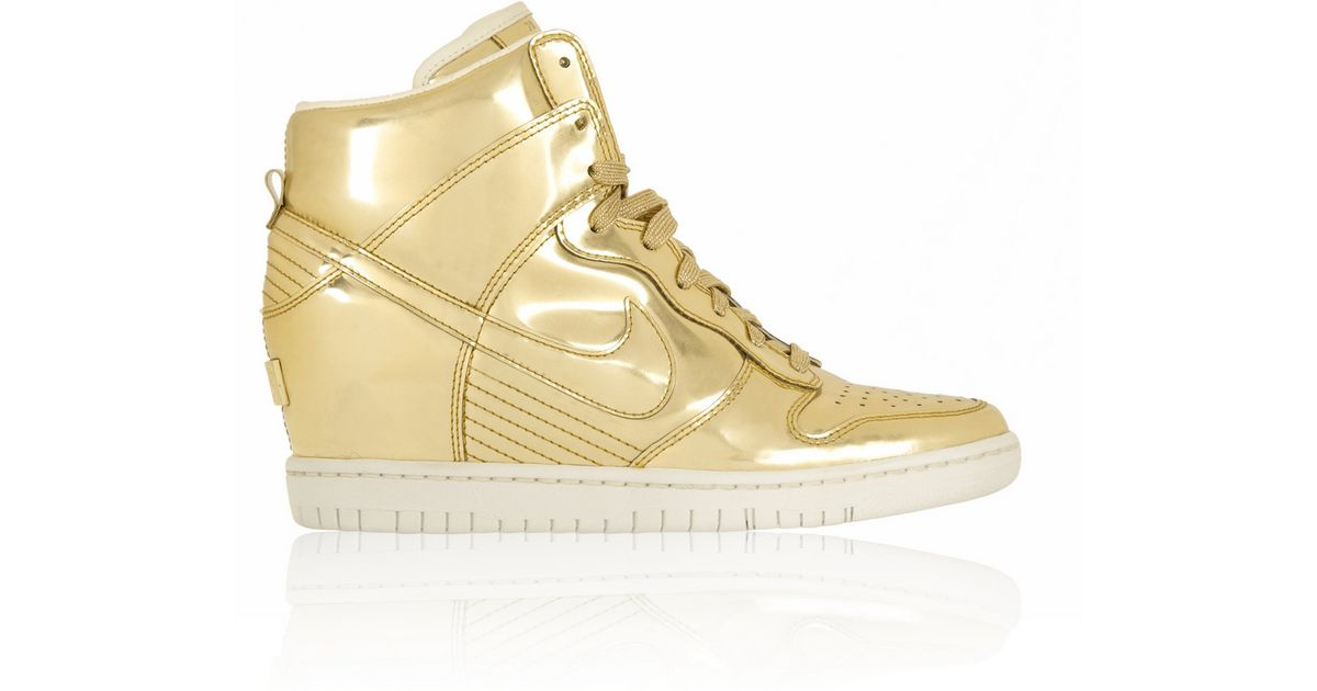 check out e3cb8 f6fb8 ... SP Nike Dunk Sky Hi Metallic Leather Wedge Sneakers in Metallic - Lyst  ...