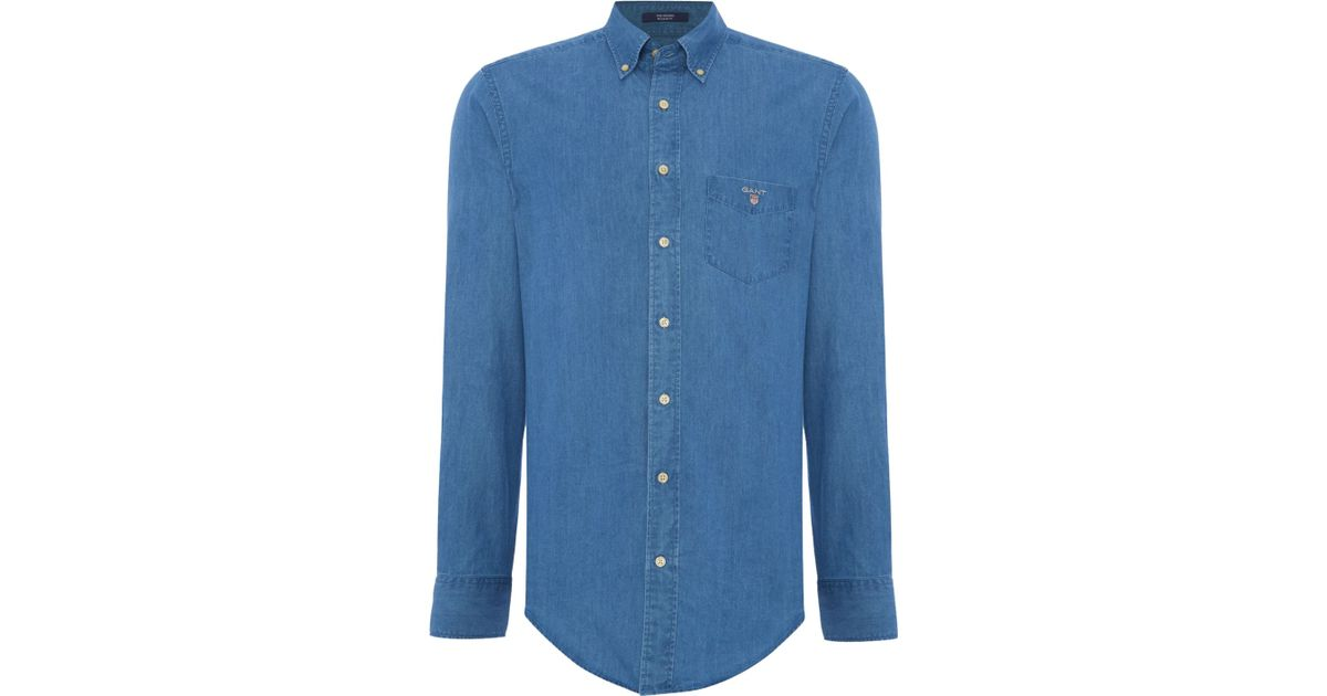 Gant Indigo Denim Long Sleeve Shirt In Blue For Men Lyst