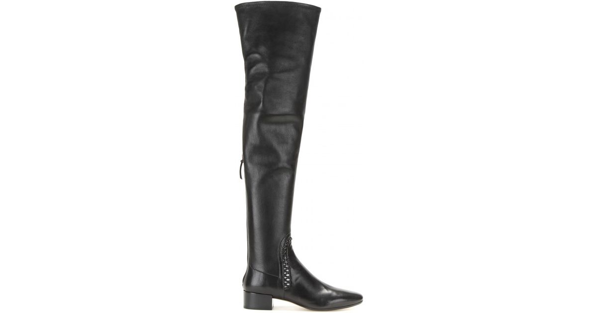 Francesco Russo Calf hair-trimmed leather over-the-knee boots nvibZ