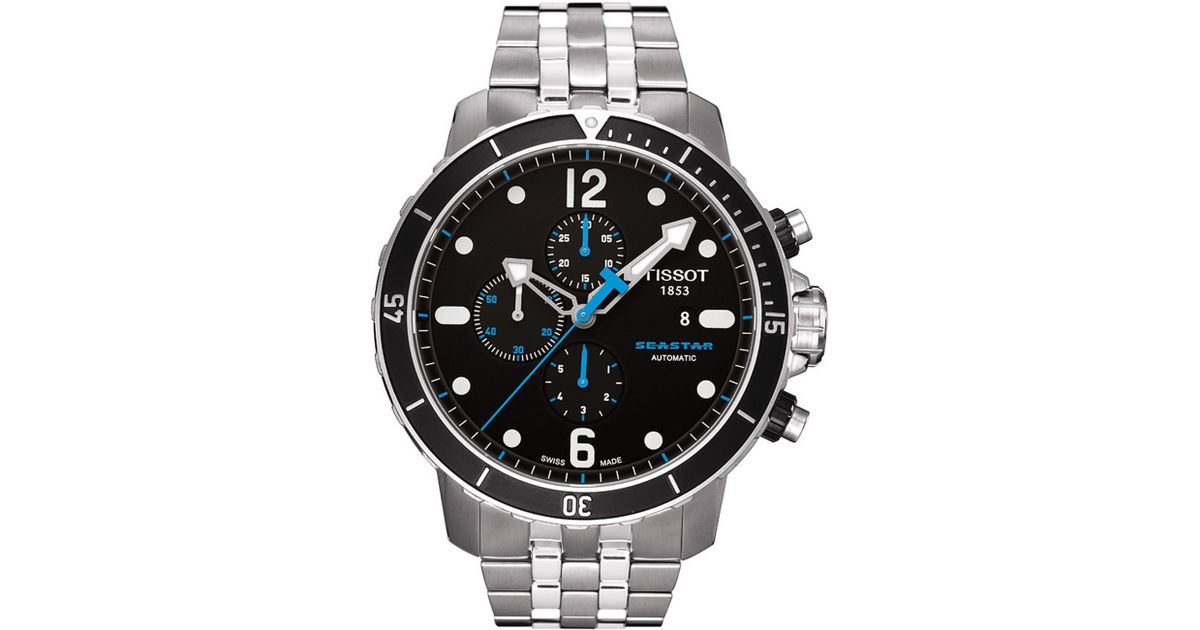 014c870cc20 Lyst - Tissot Mens Swiss Automatic Chronograph Seastar Stainless Steel  Bracelet in Black for Men