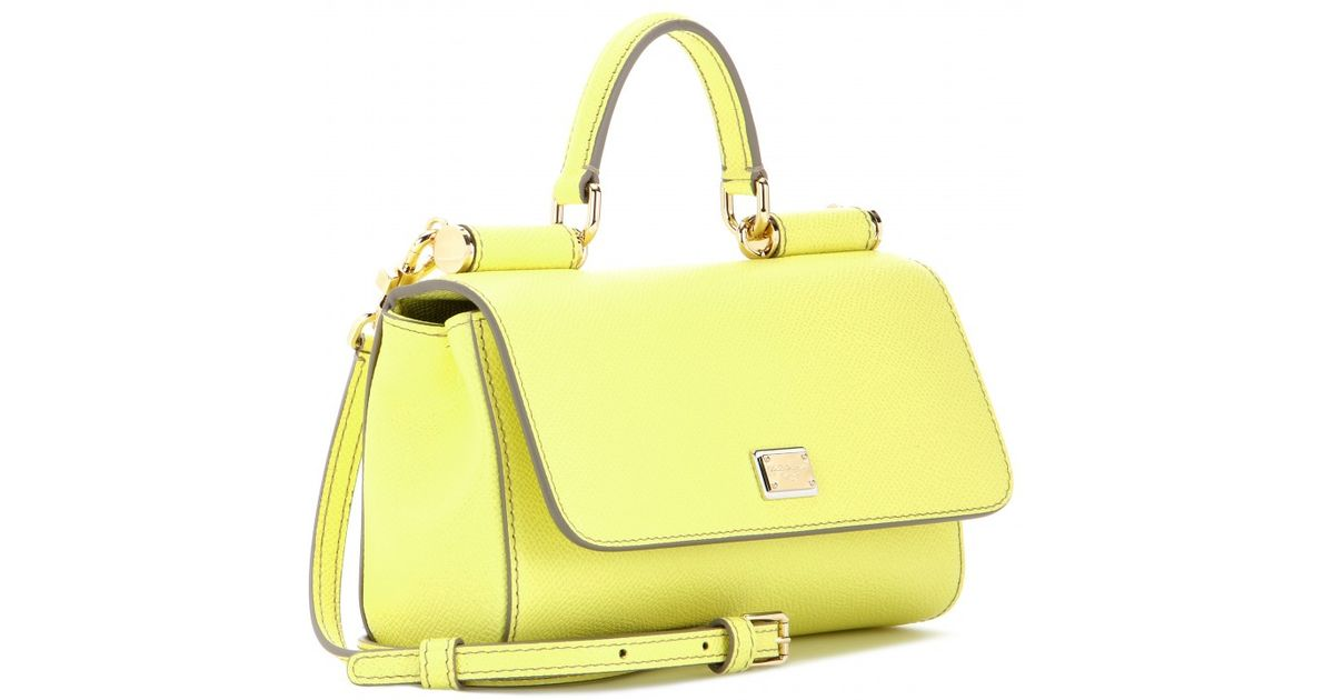 Lyst - Dolce   Gabbana Mini Miss Sicily Leather Shoulder Bag in Yellow 2b36af8c86c8e