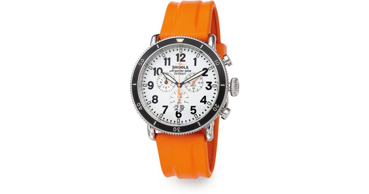 47edfb376 Shinola Runwell Sport Chronograph Watch in Orange for Men - Lyst