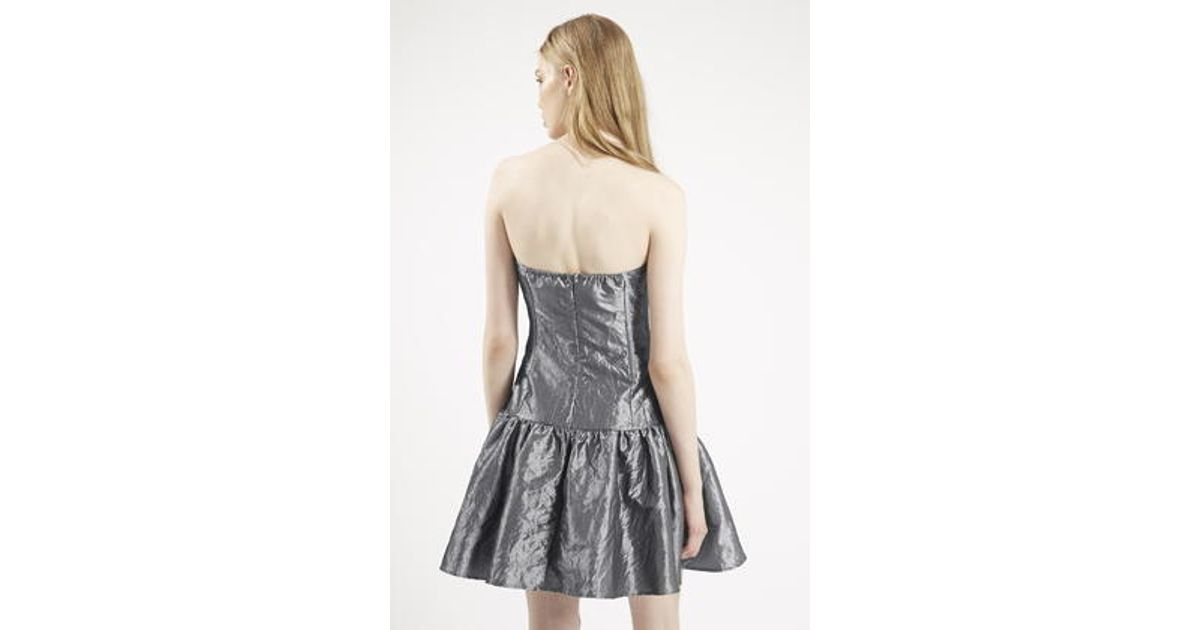 Lyst - Topshop \'80s Taffeta Prom Dress By Archive in Gray