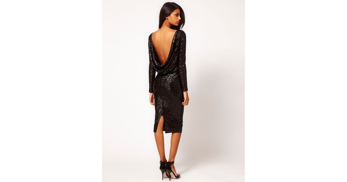 db5994ad5c2 Lyst - ASOS Collection Asos Sequin Cowl Back Dress in Black