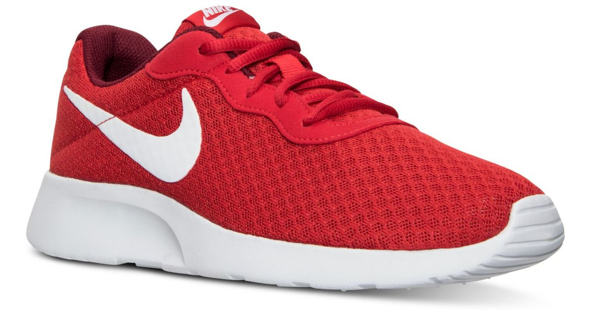 new style 9d943 85ddf ... czech nike mens tanjun casual sneakers from finish line in red for men  lyst 33c26 2d851