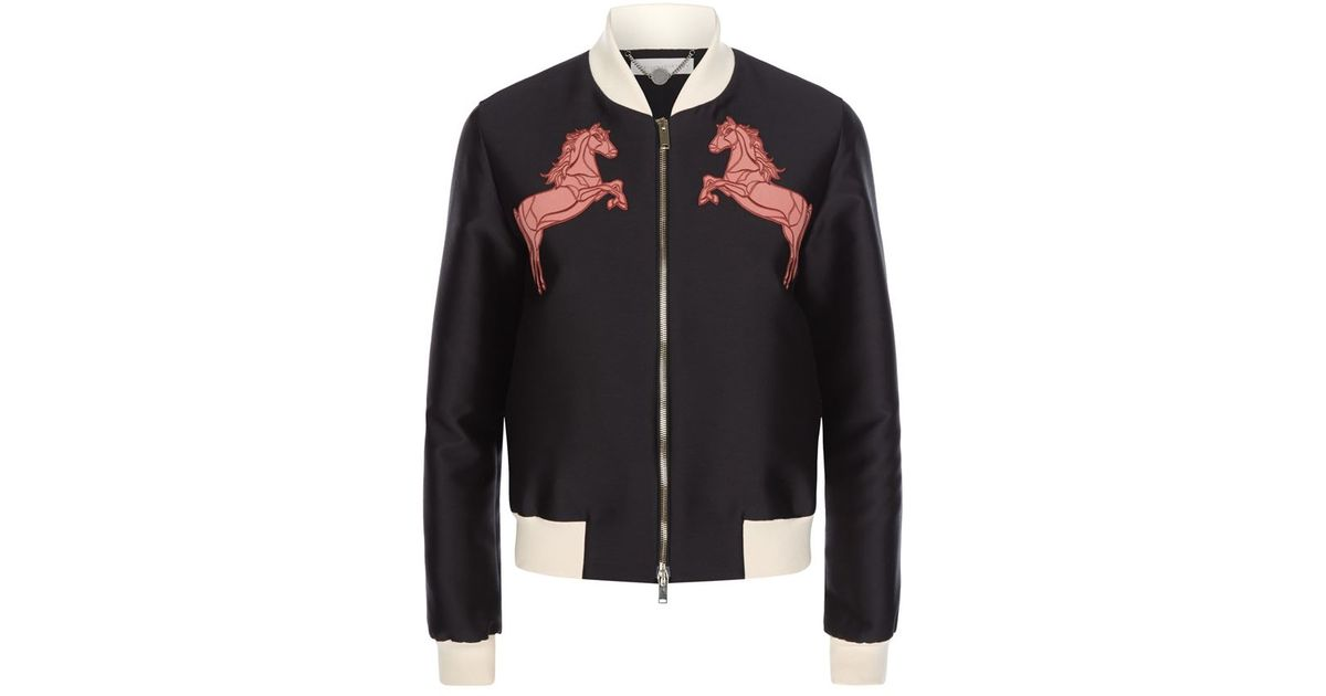 Stella mccartney elgin embroidered horse bomber jacket in