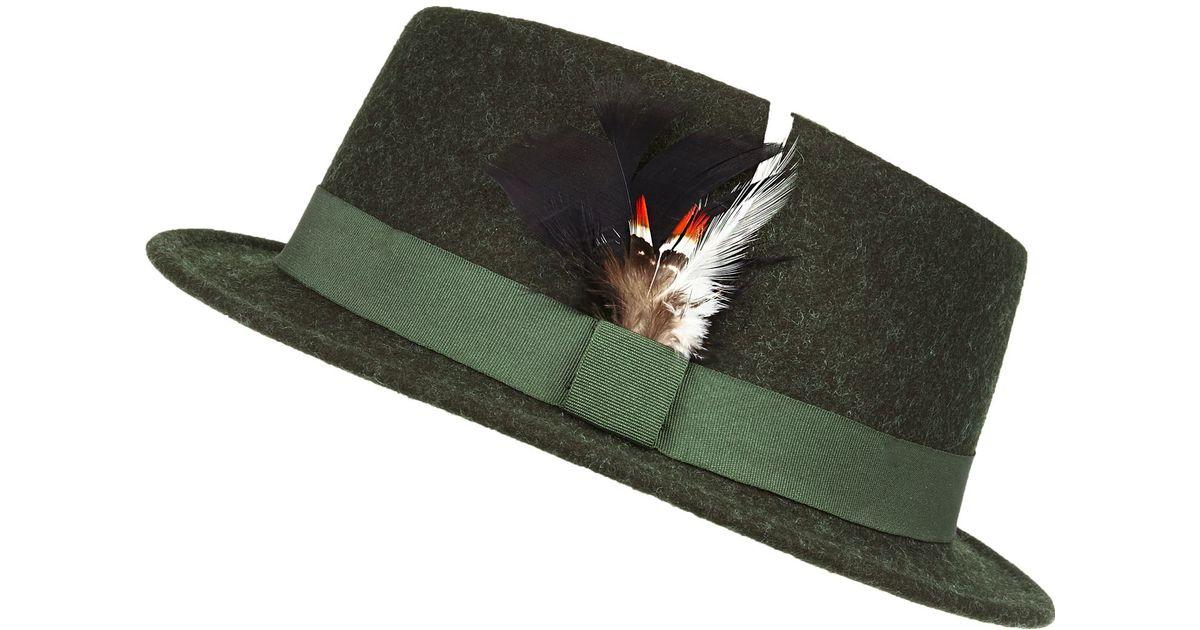 River Island Dark Green Feather Pork Pie Hat in Green for Men - Lyst 2496846218c