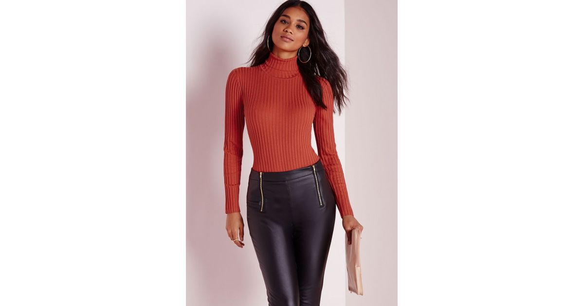 Lyst - Missguided Long Sleeve Polo Neck Bodysuit Orange in Orange d5389f794