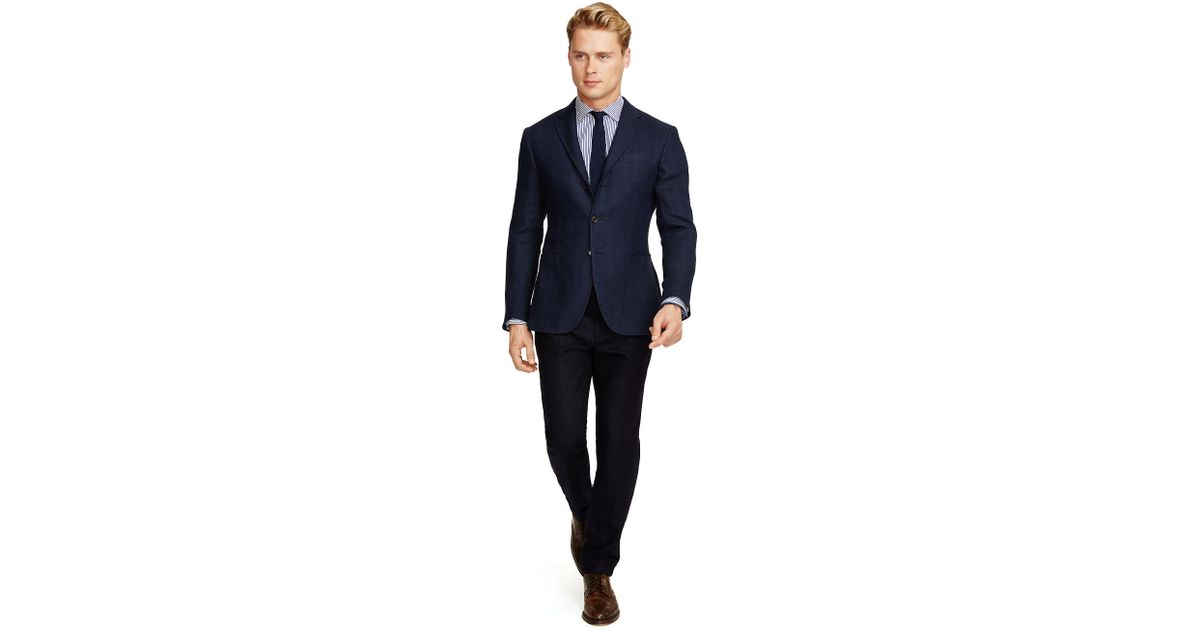 polo ralph lauren polo herringbone sport coat in blue for men lyst. Black Bedroom Furniture Sets. Home Design Ideas