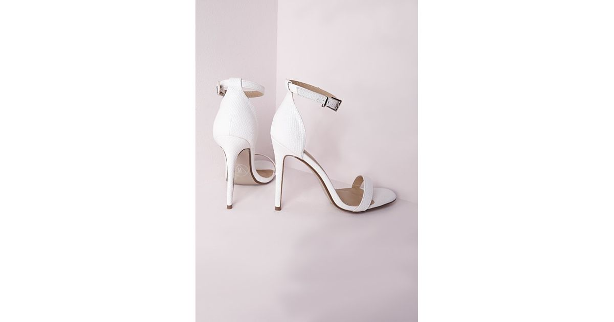 83fae4b278fb Missguided Barely There Strappy Heeled Sandals White Croc in White - Lyst