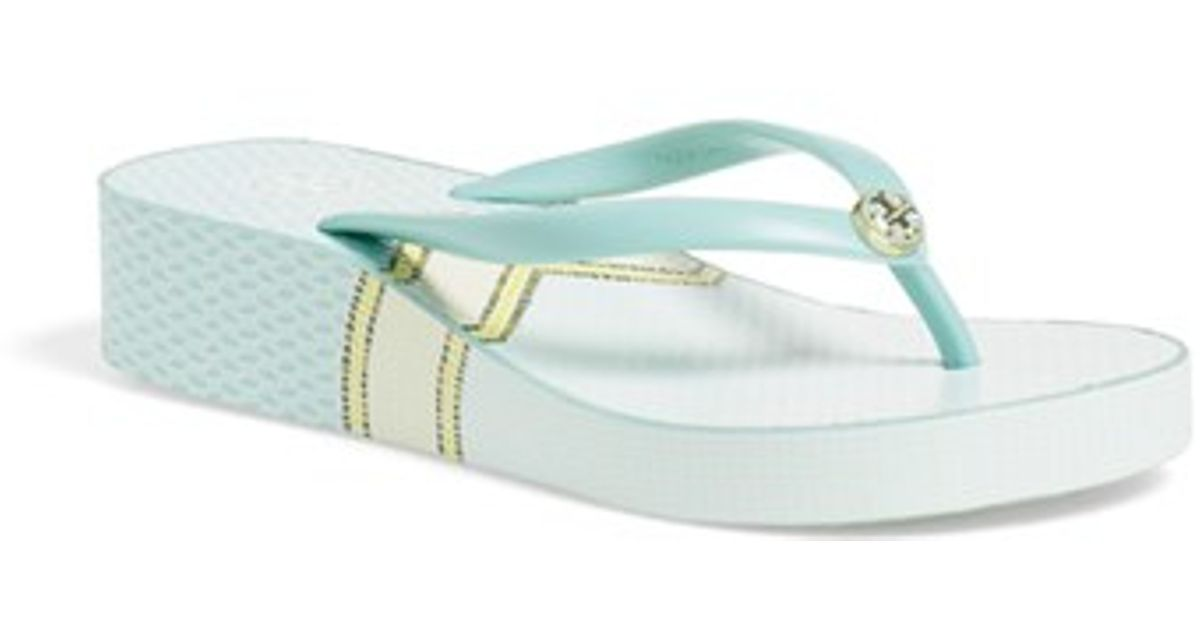 8c27e81ba Lyst - Tory Burch Thandie Wedge Sandals in Blue