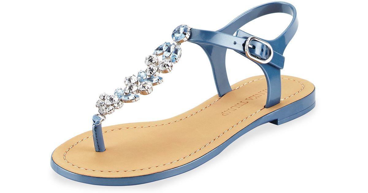 4d6e37d4dd533d Lyst - Ivanka Trump Areya Jeweled Jelly Sandal in Blue