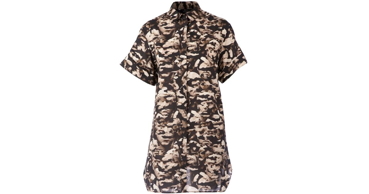 Lyst - Neil Barrett Camouflage Shirt Dress in Brown
