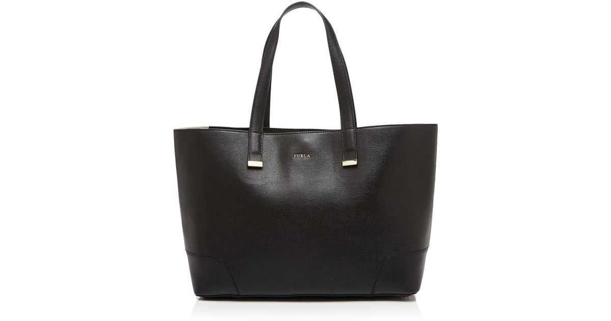 Stacy Casanova Medium Tote Bag in Onyx, Petalo and Cedro Calfskin Furla