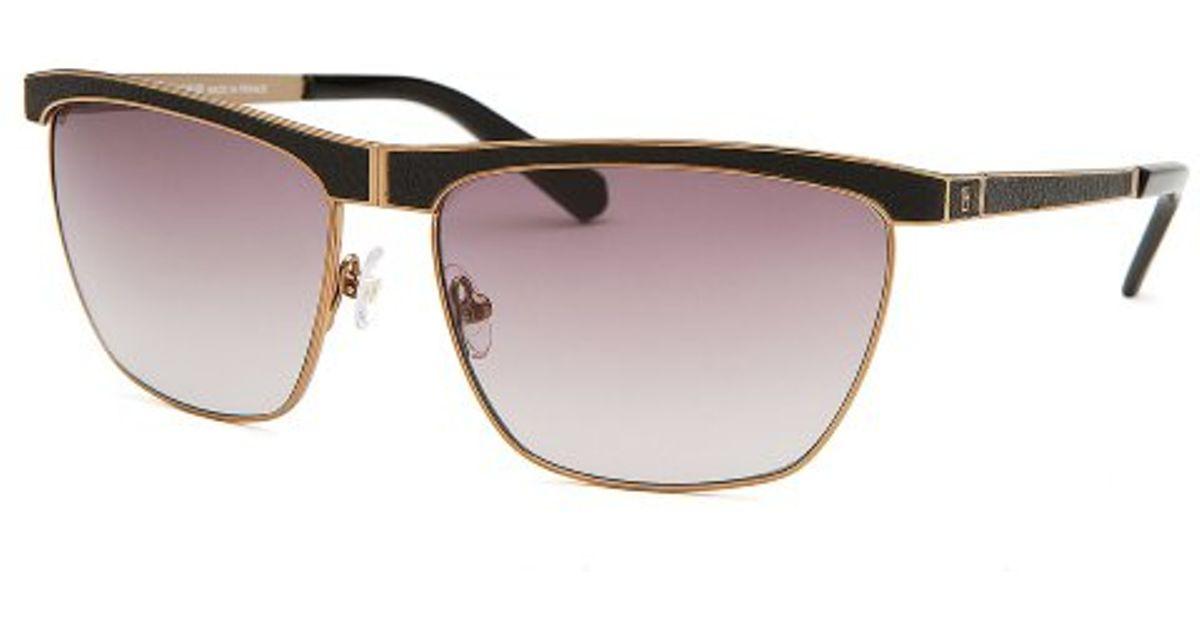 Lyst - Balmain Women s Square Gold-tone And Black Sunglasses in Metallic a0b23faa6c