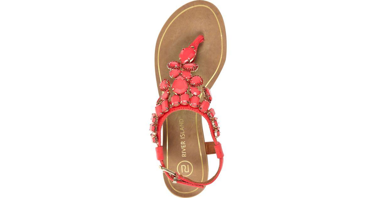 3f0822b3ad7 River Island Pink Gem Stone Embellished T Bar Sandals in Pink - Lyst