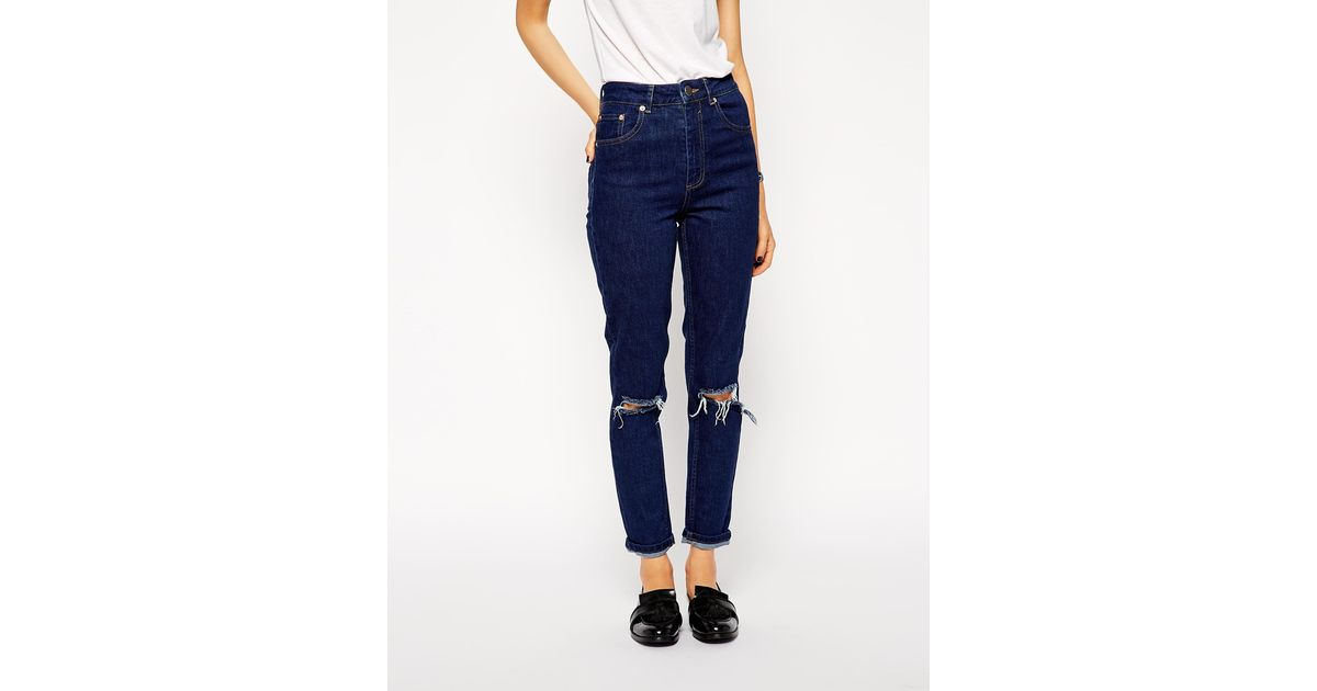 266542c76c55c Lyst - ASOS Farleigh High Waist Slim Mom Jeans In Rich Blue With Busted  Knees in Blue