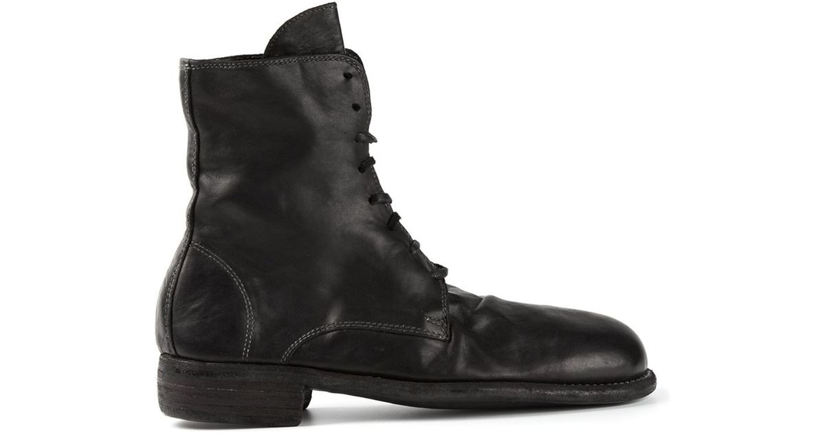 guidi lace up distressed leather boots in black lyst
