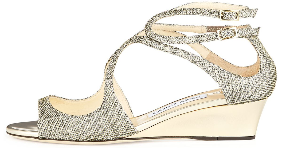 473d7da9d4f Lyst - Jimmy Choo Inka Glitter Demiwedge Sandal in Natural
