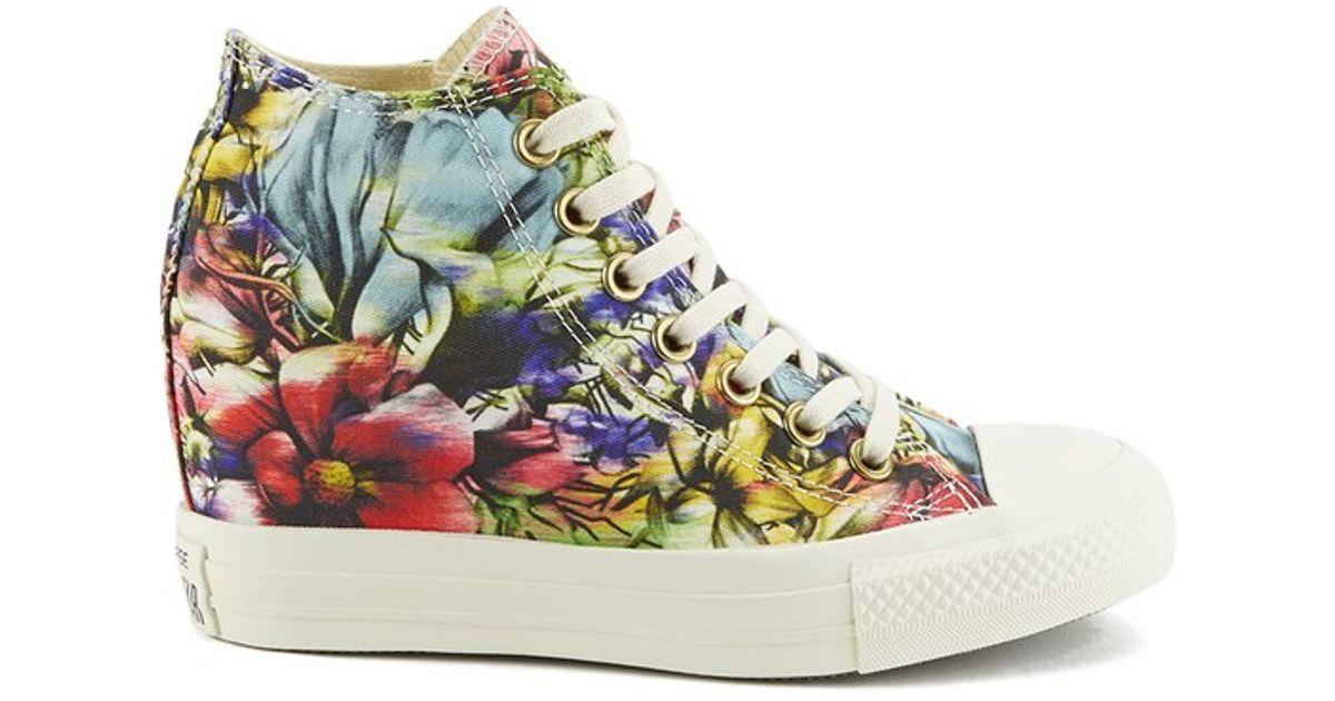 5ac3d4e6719de6 ... Black  Converse WomenS Chuck Taylor All Star Lux Floral Print Wedge Hi- Top Canvas Trainers -