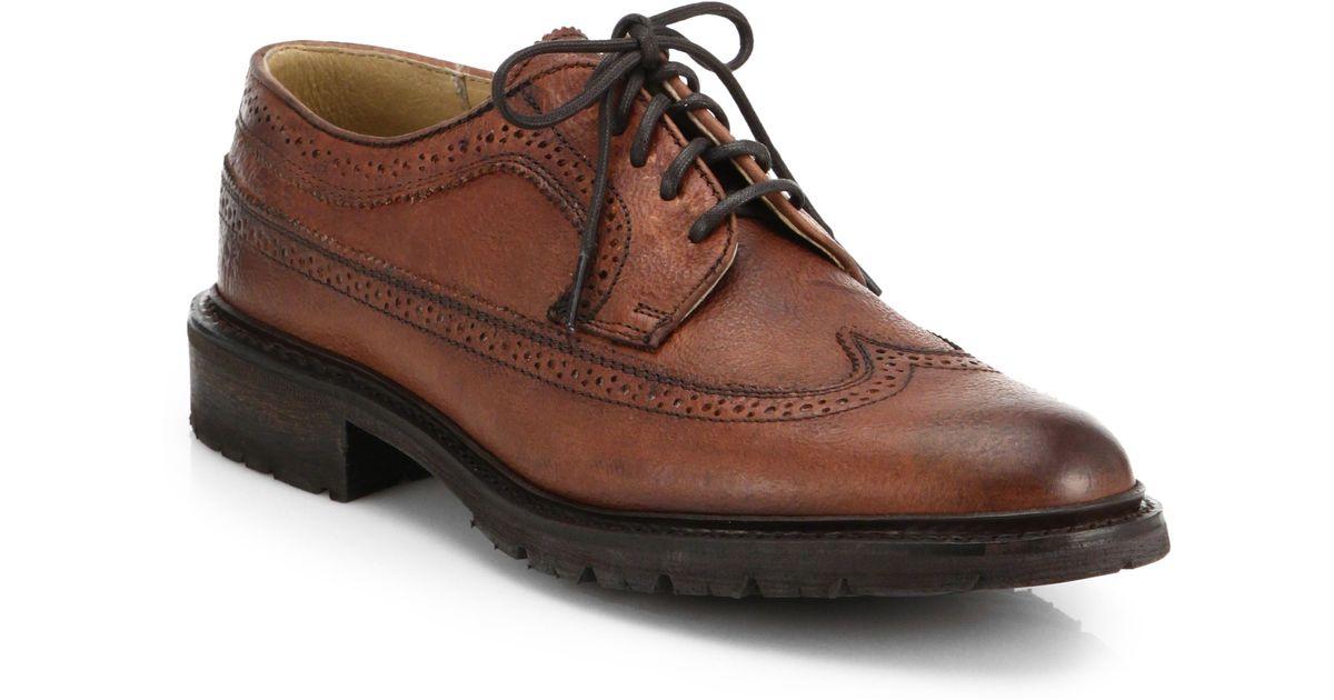 58167cd78 Frye James Lug Wingtip Derby Shoes in Brown for Men - Lyst