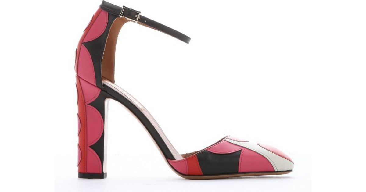51c318d9953 Valentino Pink And Red Polka Dot Leather Block Heel Pumps in Red - Lyst