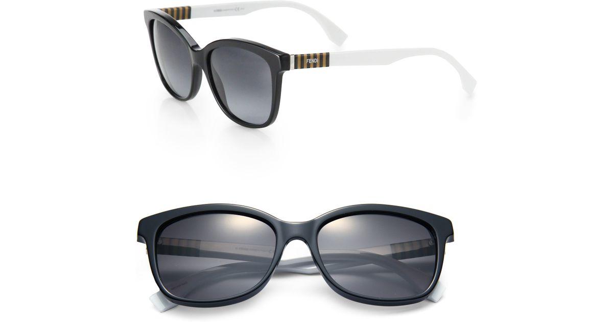 2153f50b5d9e Lyst - Fendi Striped-side Wayfarer Sunglasses in Black