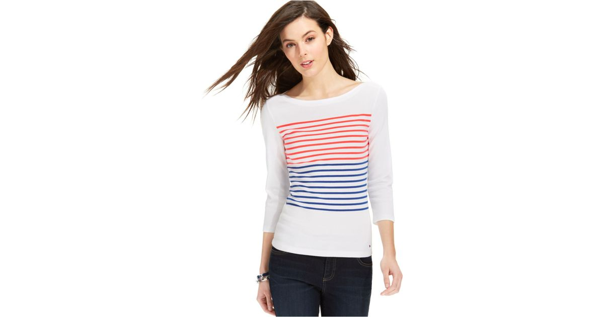 bce272b484c Lyst - Tommy Hilfiger Flag Striped Boat-neck Top