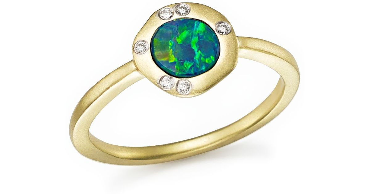 meira t 14k yellow gold opal ring with diamonds in gold lyst