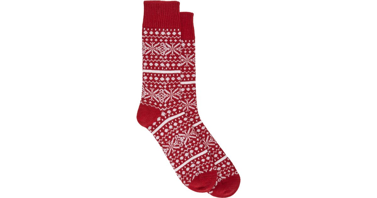 Corgi Chunky Fair Isle Socks in Red for Men | Lyst