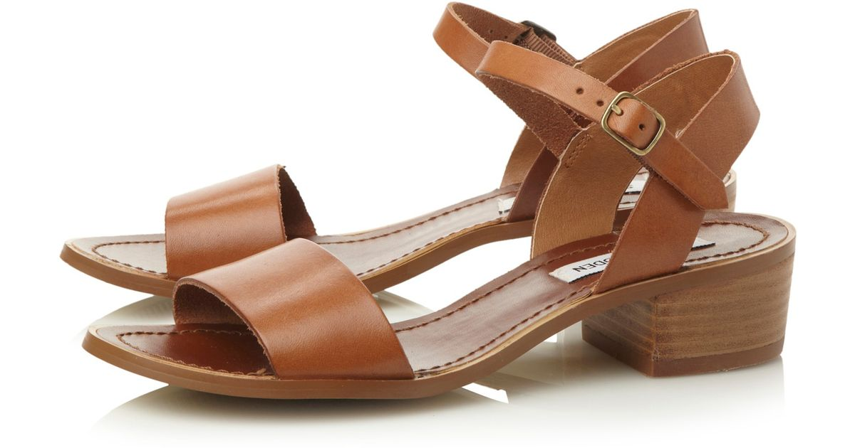 e619ac86a025 Steve Madden Dense Leather Block Heel Sandals in Brown - Lyst