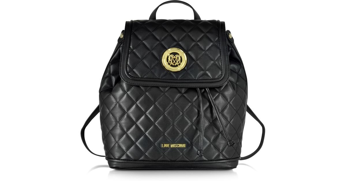 Lyst - Love Moschino Large Quilted Eco Leather Backpack in Black a9dbf45492538