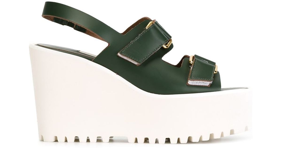 l autre chose wedge sandals in green save 50 lyst