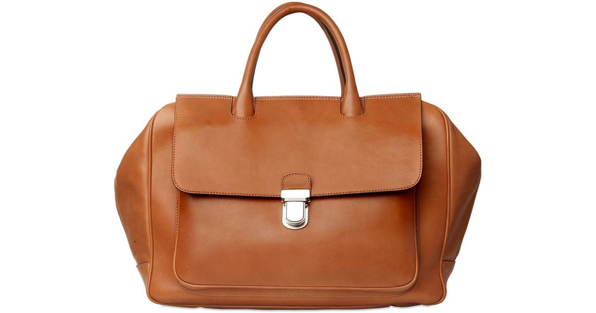 a28af7243d Giorgio Armani Natural Leather Bag in Brown for Men - Lyst