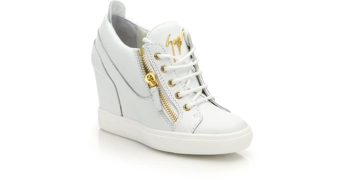 Giuseppe zanotti Leather High-top Zip Wedge Sneakers in ...