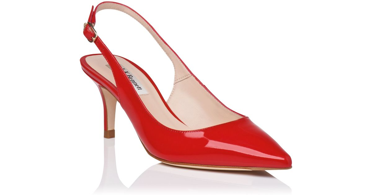 L.k.bennett Florita Sling Back Kitten Heel Shoes in Red | Lyst