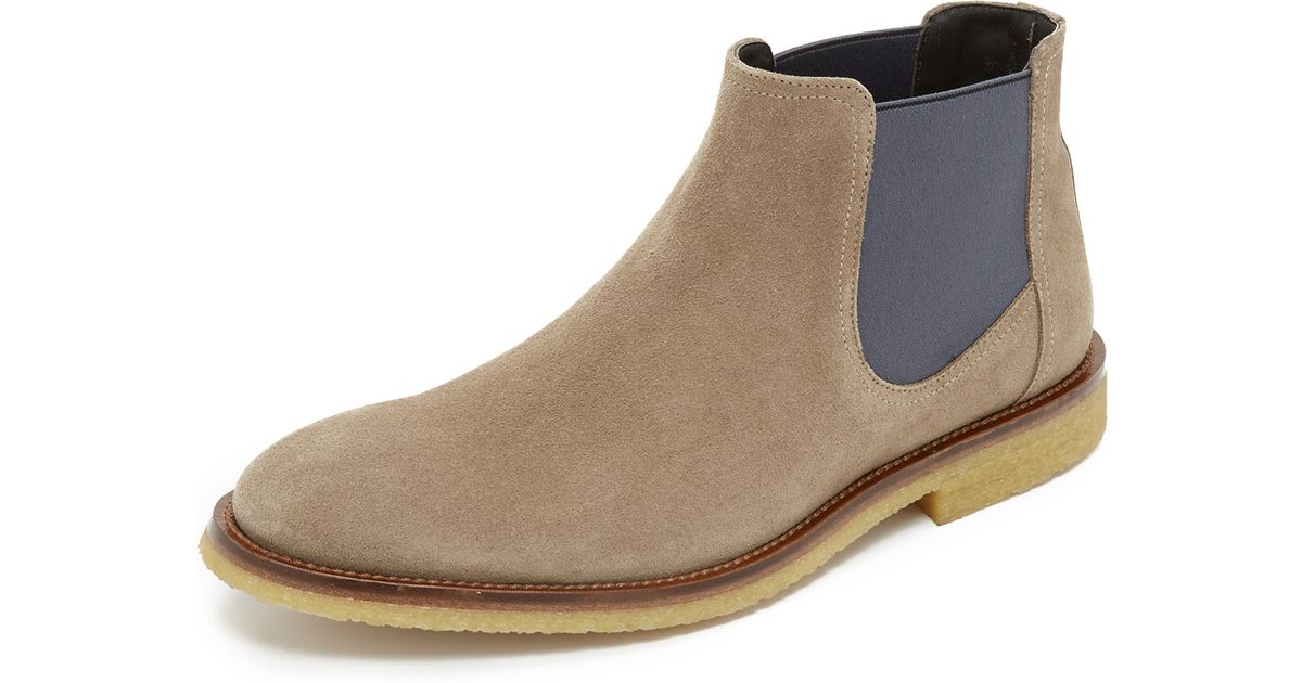 to boot briggs suede chelsea boots in natural for men lyst. Black Bedroom Furniture Sets. Home Design Ideas